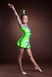 Beauty child gymnast training in studio Royalty Free Stock Photo