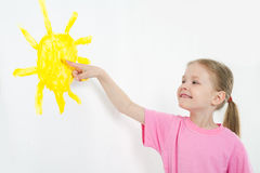 Beauty child painting stock photos