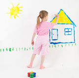 Beauty child painting Royalty Free Stock Images