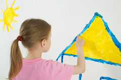 Beauty child painting Stock Image