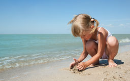 Beauty child at sea Royalty Free Stock Photos