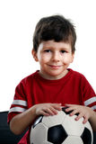 Beauty child with soccer ball stock photography