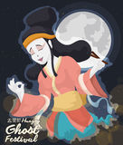 Beauty Chinese Lady Spirit Celebrating Hungry Ghost Festival, Vector Illustration. Mischievous beauty female spirit at night with full moon celebrating and Stock Photo