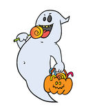 Beauty chost with lolipop. Nice  ghost with pumpkin bucket and lolipop Royalty Free Stock Photo