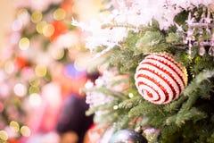 Christmas defocus bokeh. Beauty christman tree and ball with defocus bokeh Royalty Free Stock Photography