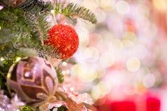 Christmas defocus bokeh. Beauty christman tree and ball with defocus bokeh Royalty Free Stock Image