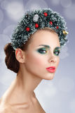 Beauty Christmas Girl. Beautiful Christmas wreath. New Year Stock Images