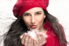 Beauty Christmas Girl Blowing Snow Royalty Free Stock Photography