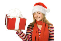 Beauty christmas girl in red h Royalty Free Stock Photography