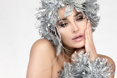 Beauty Christmas Girl with Silver Hair. Winter Woman Makeup and Stock Images