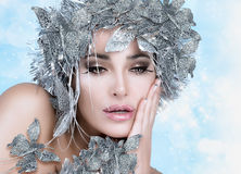 Beauty Christmas Girl with Silver Stylist. Winter Queen Royalty Free Stock Photos