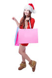 Beauty Christmas Girl Take Pink Blank Shopping Bag Royalty Free Stock Photography