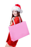 Beauty Christmas Girl Take Pink Blank Shopping Bag Royalty Free Stock Image