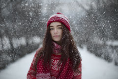 Beauty christmas portrait. Beautiful young girl in red Christmas clothes standing on the street in the snow stock image