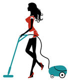 Beauty cleaning with vacuum cleaner Stock Image