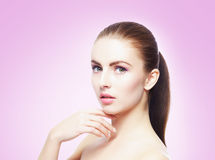 Beauty close-up portrait of beautiful, fresh and healthy girl. H Stock Images