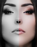 Beauty close-up portrait of young woman face divided half in color, black and white Stock Photos