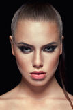 Beauty closeup portrait of handsome european model Royalty Free Stock Images
