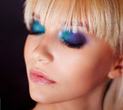 Beauty closeup portrait of perfect makeup. Stock Photos