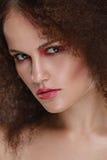 Beauty closeup portrait of young caucasian girl. Woman looking at camera. Beautiful fashion luxury makeup Royalty Free Stock Photos