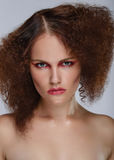 Beauty closeup portrait of young caucasian girl. Woman looking at camera. Beautiful fashion luxury makeup. Grey background Stock Image