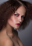 Beauty closeup portrait of young caucasian girl. Woman looking at camera. Beautiful fashion luxury makeup. Grey background Royalty Free Stock Images