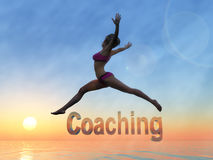 Beauty Coach. Beauty and Life Coach helps you to discover the law of attraction and self confidence stock illustration