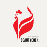 Beauty cock - rooster vector logo concept. Bird cock minimal illustration. Vector logo template. Cock design element Stock Photography