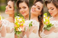 Beauty collage. Beautiful and fashion bride.  stock images