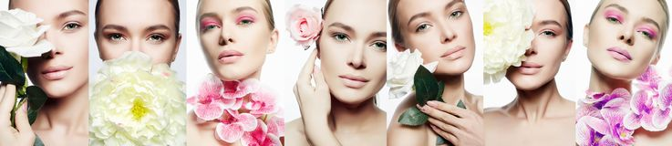 Beauty collage. Woman with Make-up and Flowers royalty free stock photos