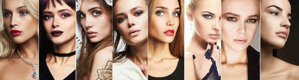 Beauty collage. Faces of women. Makeup beautiful girls. different blondes and brunettes models stock photo