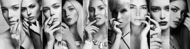 Beauty collage.Faces of women.black and white. Beauty collage.Faces of women.beautiful girls.different blondes and brunettes posing with hand near face Royalty Free Stock Images