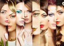 Beauty collage. Faces of women royalty free stock image