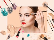 Beauty collage. Faces of women. Fashion photo. Beauty collage. Face of woman. Fashion photo with makeup set. Female applying perfume stock images