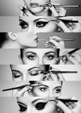 Beauty collage. Faces of women. Fashion photo. Makeup artist applies lipstick and eye shadow stock photos