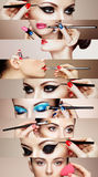 Beauty collage faces of women Stock Photos