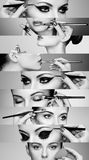 Beauty collage faces of women. Beauty collage. Faces of women. Fashion photo. Makeup artist applies lipstick and eye shadow. Woman applying perfume. Black and stock photos