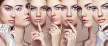 Beauty collage. Faces of women. Fashion portrait of young beautiful woman with jewelry. Blonde girl. Perfect make-up. Beauty style woman with diamond royalty free stock photo