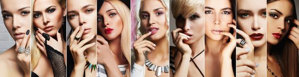 Beauty collage.Faces of women with make up. Beauty collage.Faces of women.Makeup beautiful girls.different blondes and brunettes posing with hand near face Royalty Free Stock Photo