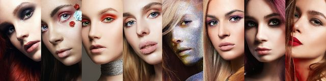 Beauty collage. women. Makeup, beautiful girls stock image