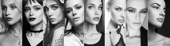 Beauty collage.Faces of women.monochrome portrait stock photos