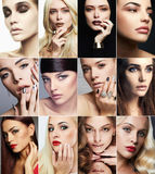 Beauty collage.Faces of women.Makeup girls. Beauty collage.Faces of women.Makeup beautiful girls stock photo