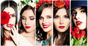 Beauty Collage. Faces of Women. Red Lips and Flowers Stock Photography