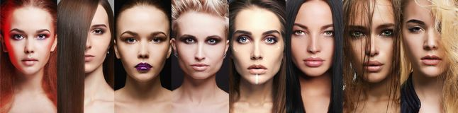 Beauty collage.Makeup beautiful girls stock photos