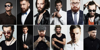 Beauty collage of real man.men`s faces. Hipster and businessman Royalty Free Stock Photos