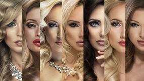 Beauty Collage. Set of Women's Faces Stock Photos
