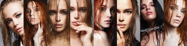 Beauty collage of women with wet hair royalty free stock images