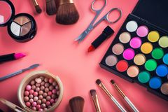 beauty colored cosmetic palette with brush Stock Photography