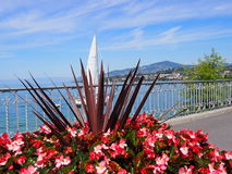 Beauty colorful flowers on promenade in MONTREUX city at Lake Geneva in SWITZERLAND. With panoramic view on swiss alpine mountains range and clear blue sky in Stock Image