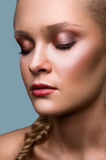 Beauty commercial model with closed eyes Royalty Free Stock Image